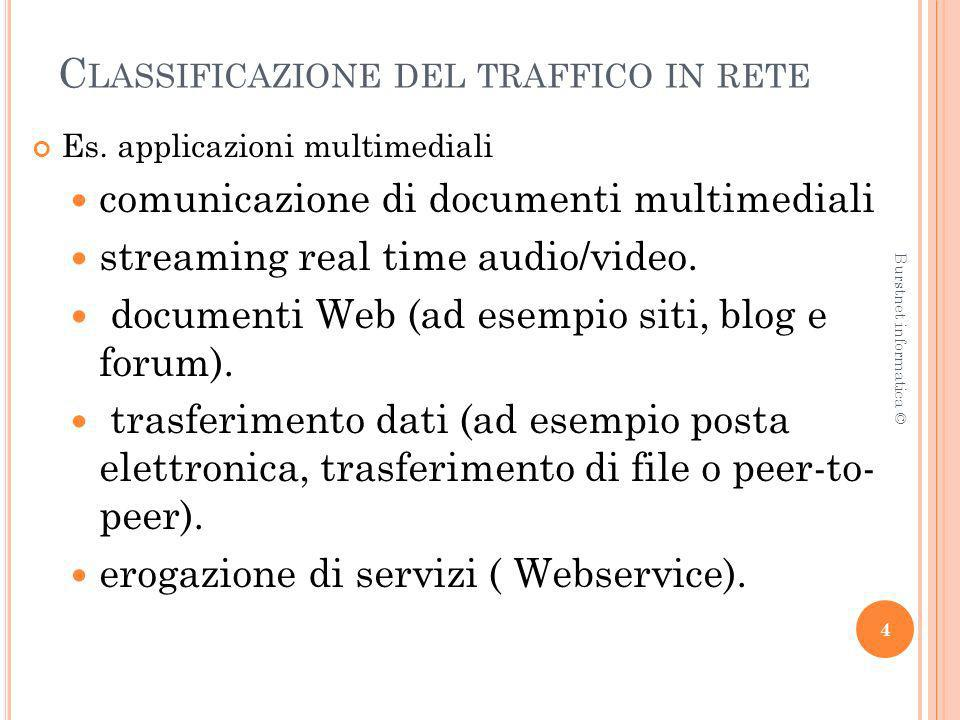C LASSIFICAZIONE DEL TRAFFICO IN RETE Es. applicazioni multimediali comunicazione di documenti multimediali streaming real time audio/video. documenti