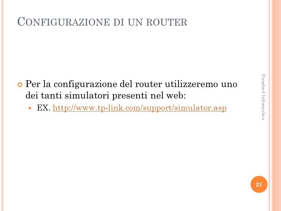 C ONFIGURAZIONE DI UN ROUTER Per la configurazione del router utilizzeremo uno dei tanti simulatori presenti nel web: EX.