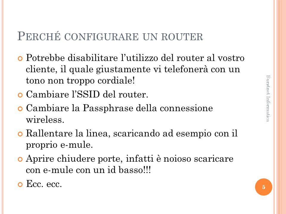 P ERCHÉ CONFIGURARE UN ROUTER Potrebbe disabilitare lutilizzo del router al vostro cliente, il quale giustamente vi telefonerà con un tono non troppo cordiale.