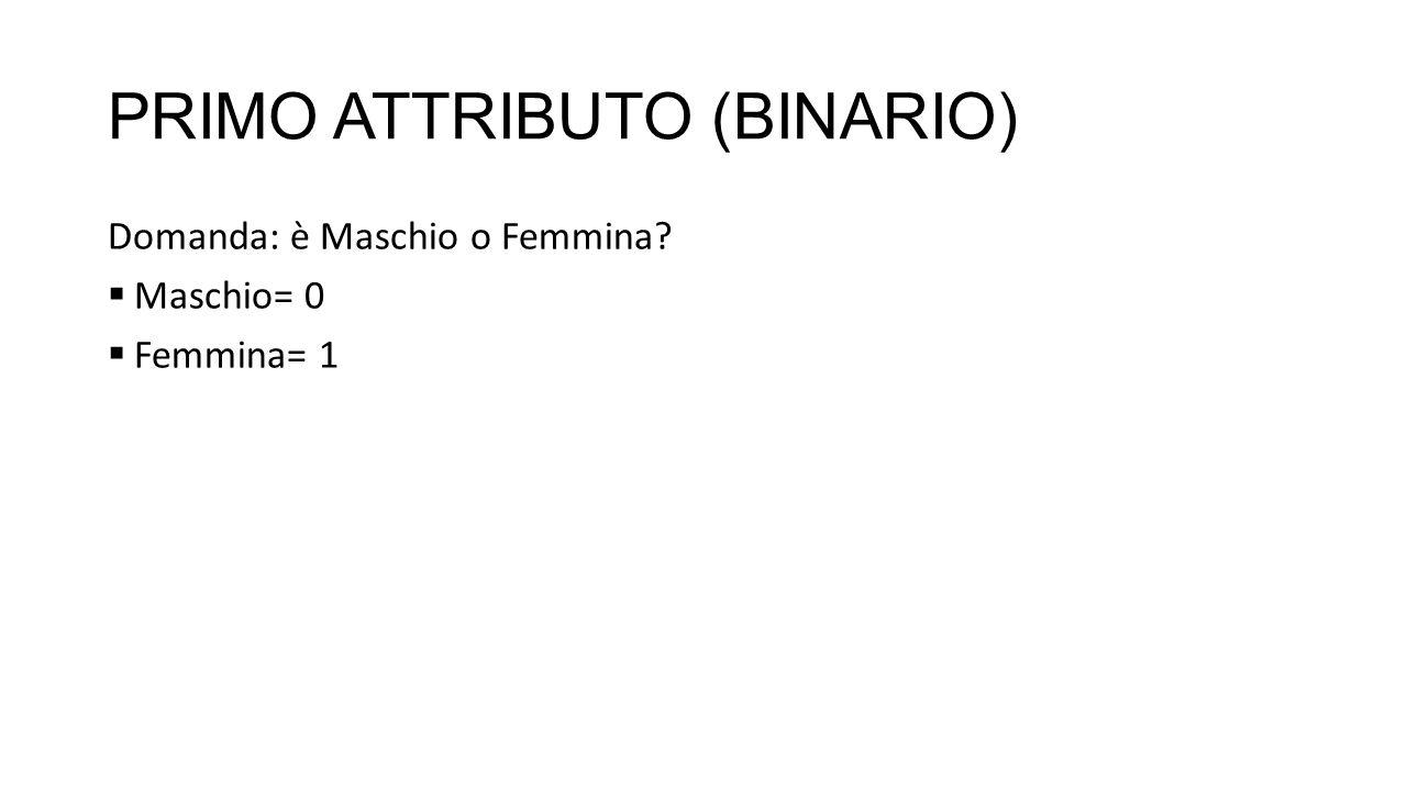 PRIMO ATTRIBUTO (BINARIO) Domanda: è Maschio o Femmina Maschio= 0 Femmina= 1