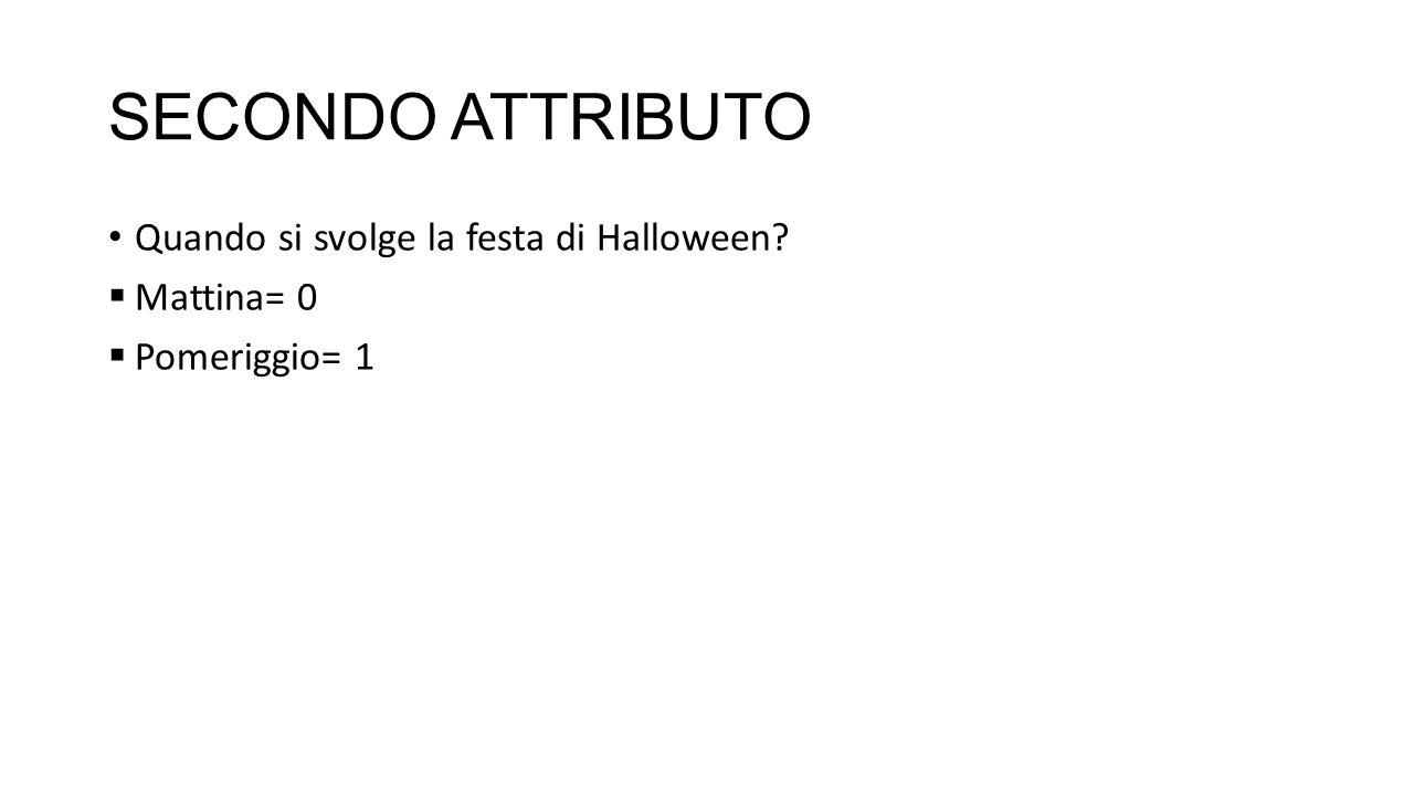 SECONDO ATTRIBUTO Quando si svolge la festa di Halloween Mattina= 0 Pomeriggio= 1