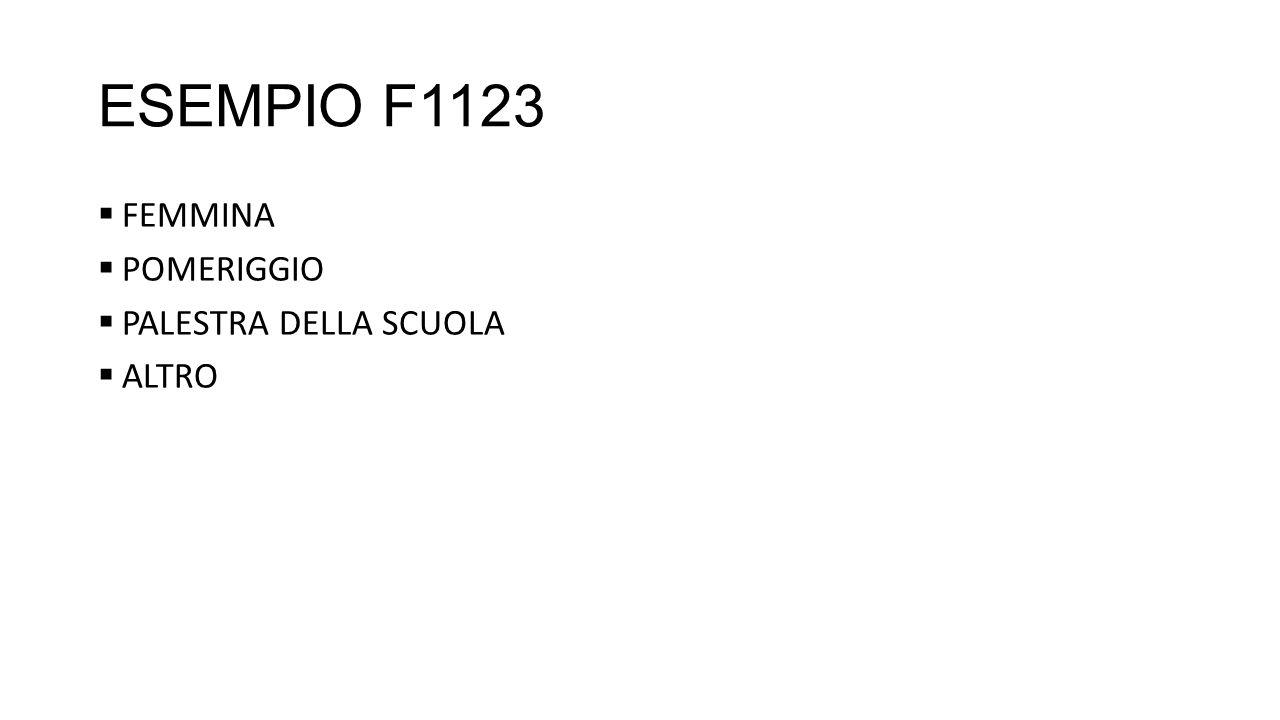 ESEMPIO F1123 FEMMINA POMERIGGIO PALESTRA DELLA SCUOLA ALTRO