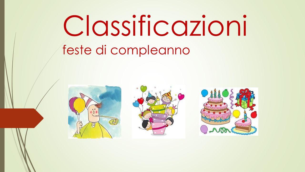Classificazioni feste di compleanno
