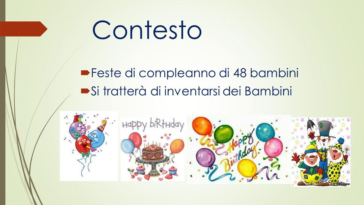 Contesto Feste di compleanno di 48 bambini Si tratterà di inventarsi dei Bambini
