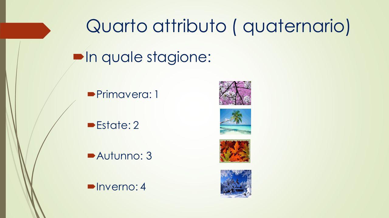 Quarto attributo ( quaternario) In quale stagione: Primavera: 1 Estate: 2 Autunno: 3 Inverno: 4