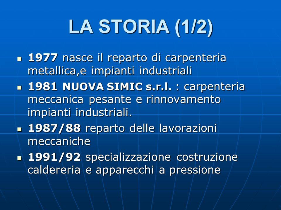 LA STORIA (1/2) 1977 nasce il reparto di carpenteria metallica,e impianti industriali 1977 nasce il reparto di carpenteria metallica,e impianti industriali 1981 NUOVA SIMIC s.r.l.