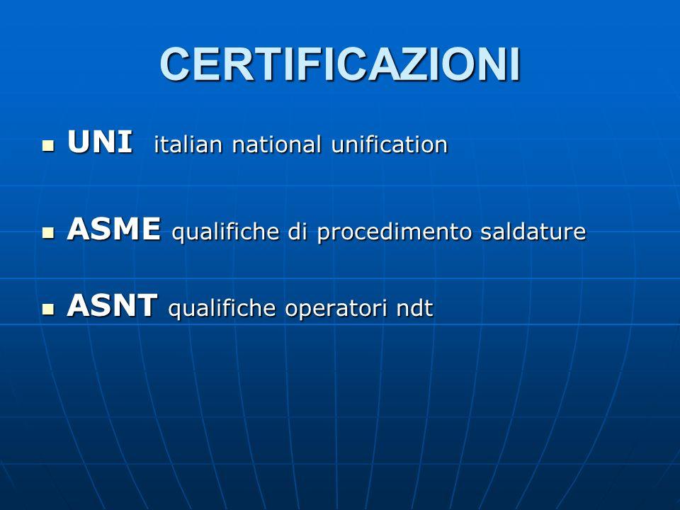 CERTIFICAZIONI UNI italian national unification UNI italian national unification ASME qualifiche di procedimento saldature ASME qualifiche di procedimento saldature ASNT qualifiche operatori ndt ASNT qualifiche operatori ndt