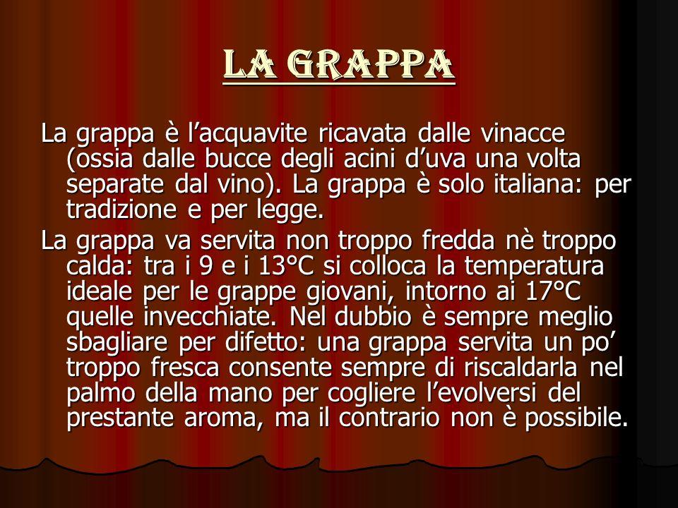 La grappa La grappa è lacquavite ricavata dalle vinacce (ossia dalle bucce degli acini duva una volta separate dal vino).