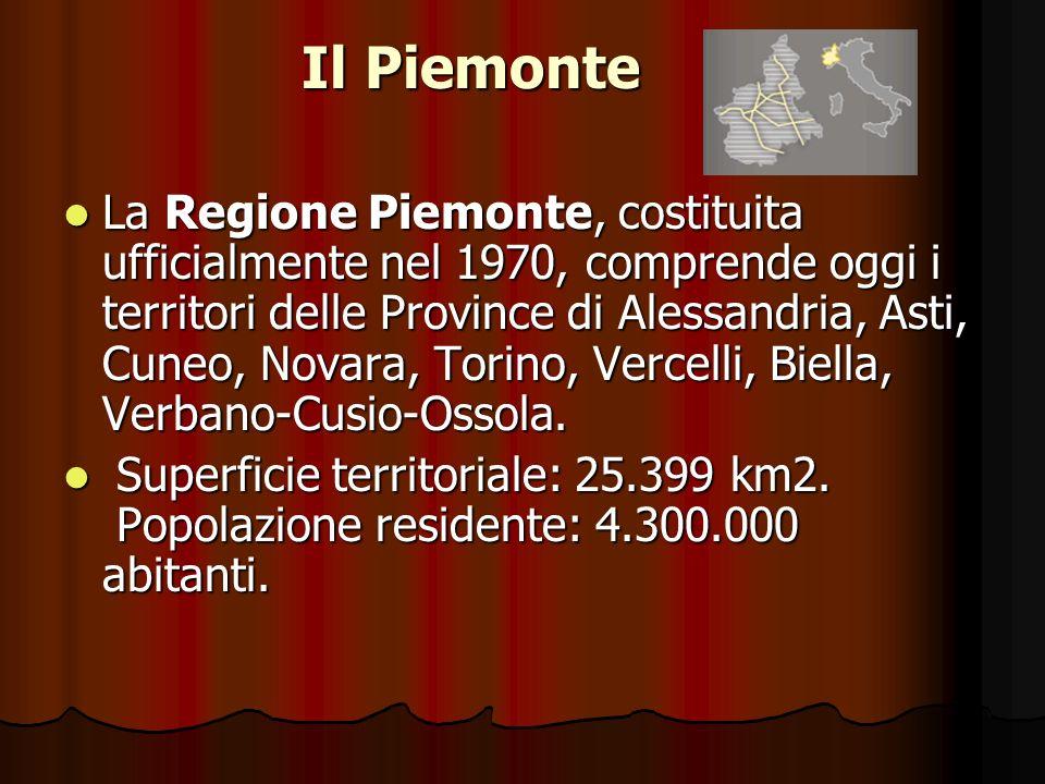 Il Piemonte La Regione Piemonte, costituita ufficialmente nel 1970, comprende oggi i territori delle Province di Alessandria, Asti, Cuneo, Novara, Torino, Vercelli, Biella, Verbano-Cusio-Ossola.