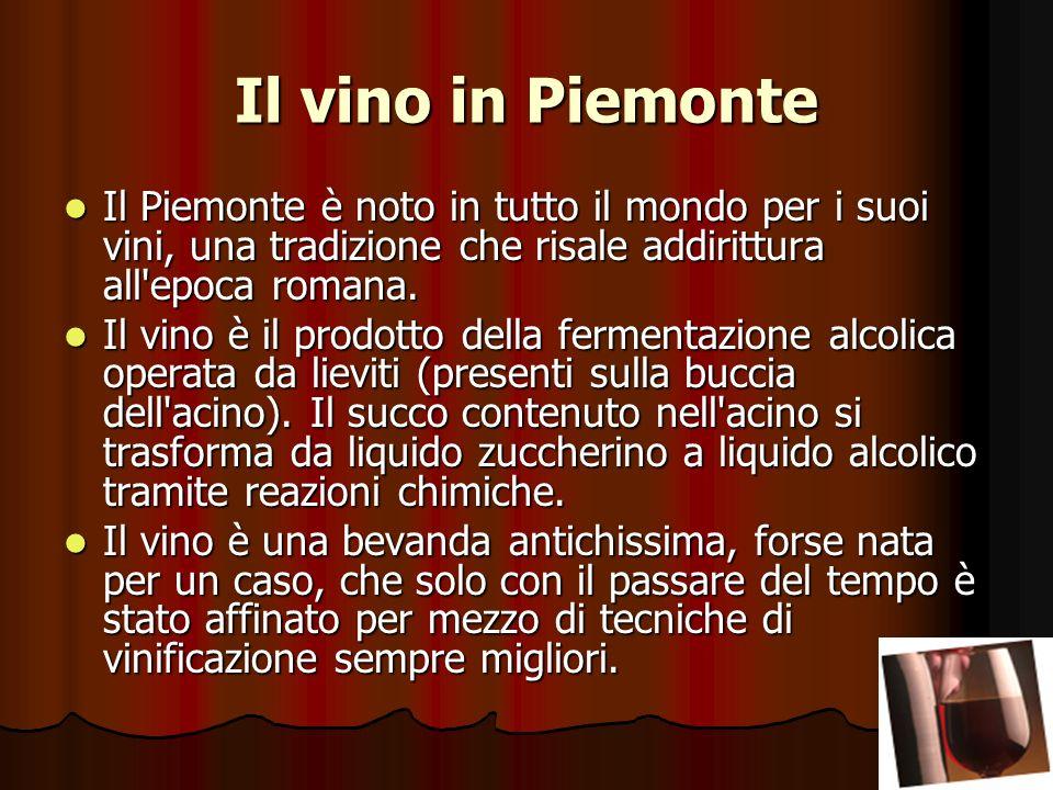 Il vino in Piemonte Il Piemonte è noto in tutto il mondo per i suoi vini, una tradizione che risale addirittura all epoca romana.