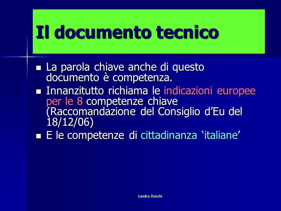 Sandra Ronchi Il documento tecnico La parola chiave anche di questo documento è competenza.