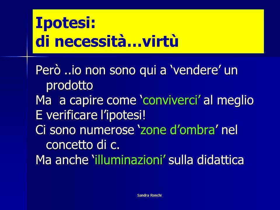 Sandra Ronchi Ipotesi: di necessità…virtù Però..io non sono qui a vendere un prodotto Ma a capire come conviverci al meglio E verificare lipotesi.