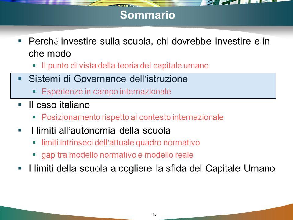 10 Sommario Perch é investire sulla scuola, chi dovrebbe investire e in che modo Il punto di vista della teoria del capitale umano Sistemi di Governan