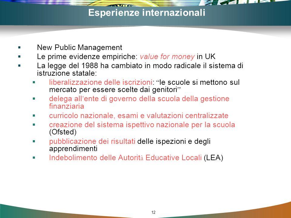 12 Esperienze internazionali New Public Management Le prime evidenze empiriche: value for money in UK La legge del 1988 ha cambiato in modo radicale i