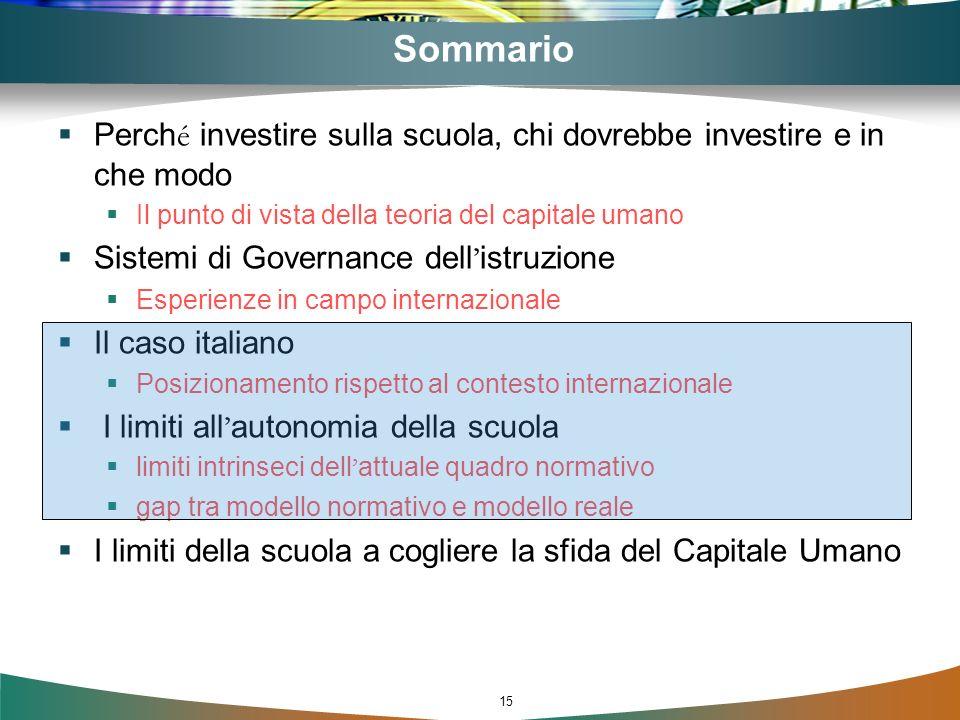 15 Sommario Perch é investire sulla scuola, chi dovrebbe investire e in che modo Il punto di vista della teoria del capitale umano Sistemi di Governan