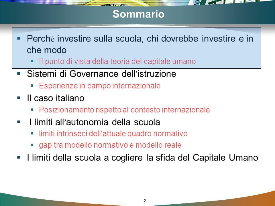 2 Sommario Perch é investire sulla scuola, chi dovrebbe investire e in che modo Il punto di vista della teoria del capitale umano Sistemi di Governanc