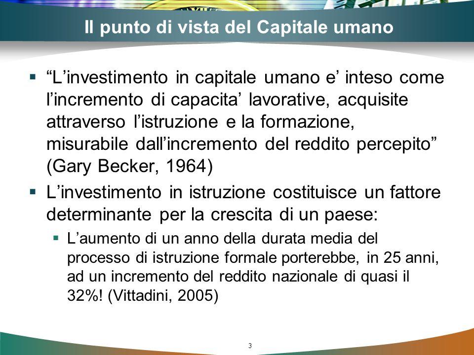 3 Il punto di vista del Capitale umano Linvestimento in capitale umano e inteso come lincremento di capacita lavorative, acquisite attraverso listruzi