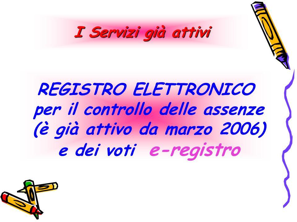 I Servizi già attivi REGISTRO ELETTRONICO per il controllo delle assenze (è già attivo da marzo 2006) e dei voti e-registro