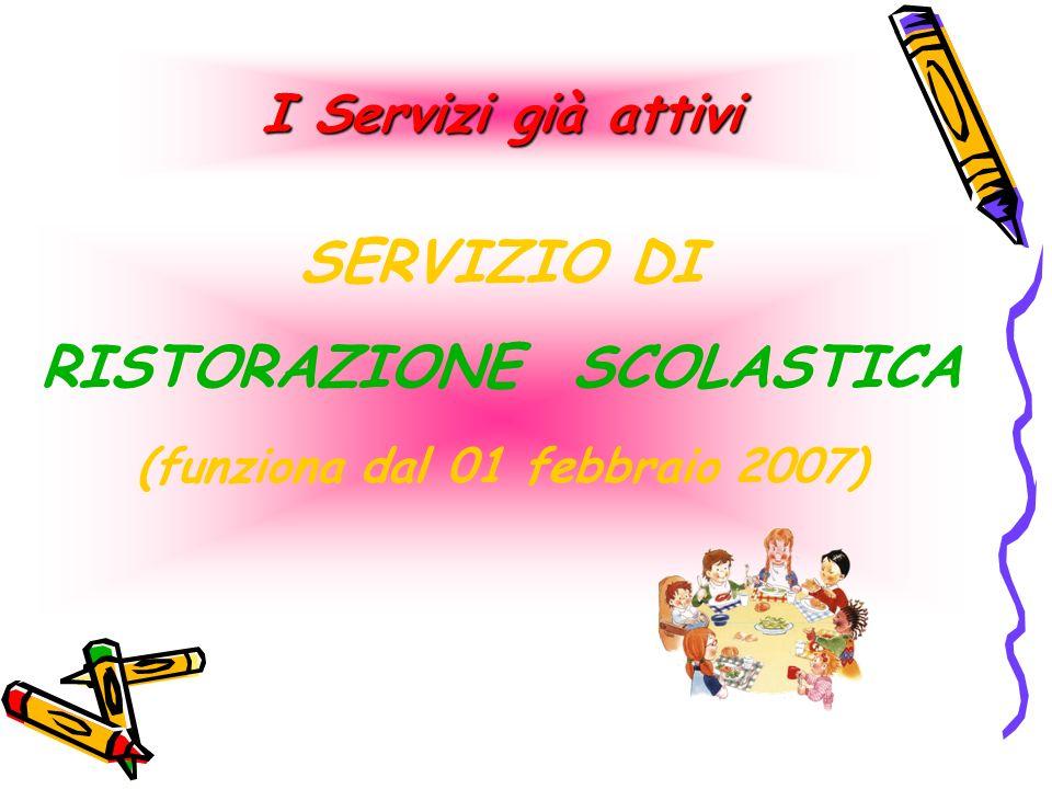 SERVIZIO DI RISTORAZIONE SCOLASTICA (funziona dal 01 febbraio 2007) I Servizi già attivi