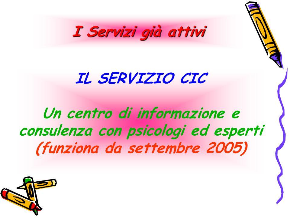 IL SERVIZIO CIC Un centro di informazione e consulenza con psicologi ed esperti (funziona da settembre 2005) I Servizi già attivi
