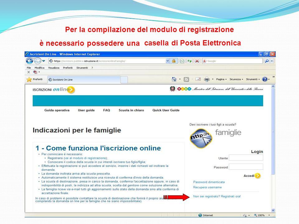Per la compilazione del modulo di registrazione è necessario possedere una casella di Posta Elettronica