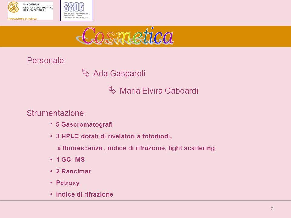 5 Personale: Ada Gasparoli Maria Elvira Gaboardi 5 Gascromatografi 3 HPLC dotati di rivelatori a fotodiodi, a fluorescenza, indice di rifrazione, ligh