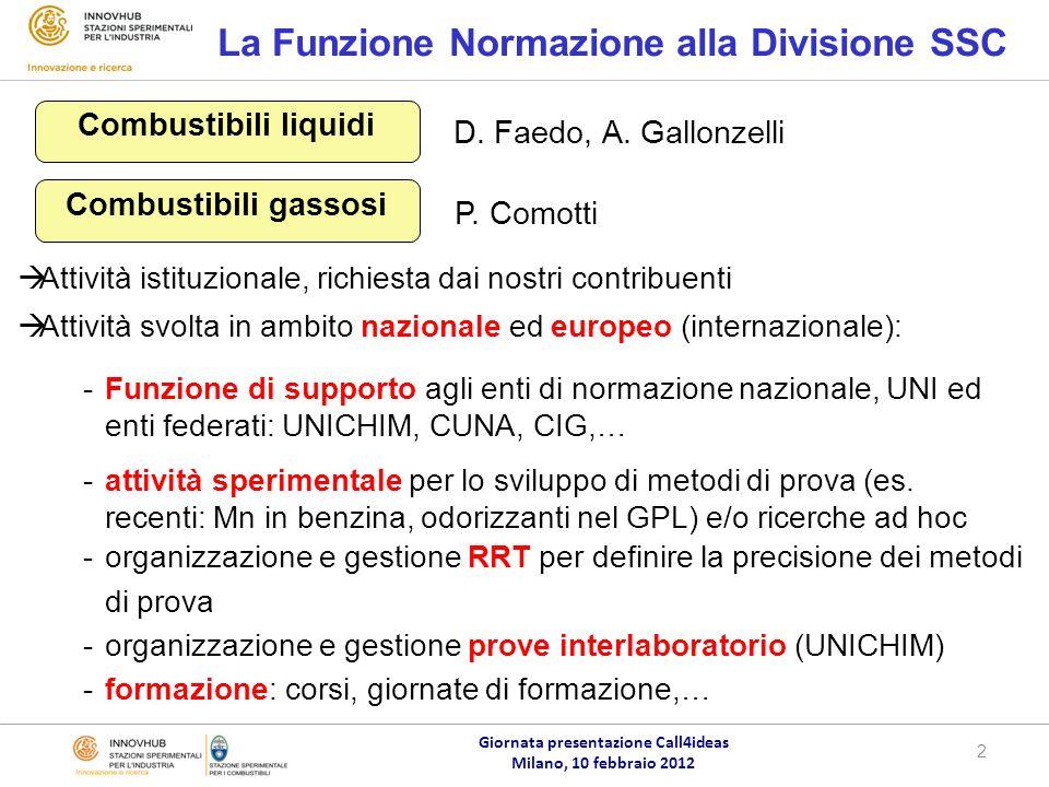 Giornata presentazione Call4ideas Milano, 10 febbraio 2012 2 La Funzione Normazione alla Divisione SSC D.