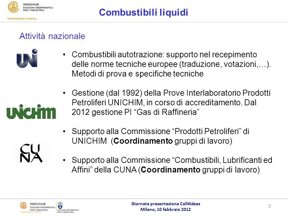 Giornata presentazione Call4ideas Milano, 10 febbraio 2012 4 Combustibili liquidi Gestione della piattaforma Livelink del CEN/TC 19: verifica, revisione e approvazione di norme europee Partecipazione Steering Group (AFNOR, BSI, DIN, NEN, UNI ) Partecipazione ai gruppi che si occupano di sviluppo di metodi di prova: JWG1, WG 9, WG 14, *WG 27, *WG 31, *WG 35 * = Gruppi che hanno o hanno avuto convenorship SSC Partecipazione ai gruppi di specifiche: benzina, gasolio, biodiesel, bioetanolo, E85, B30 ISO/TC 28, Energy Institute (convenorship di un gruppo di lavoro), ASTM D2 Attività internazionale TC 19
