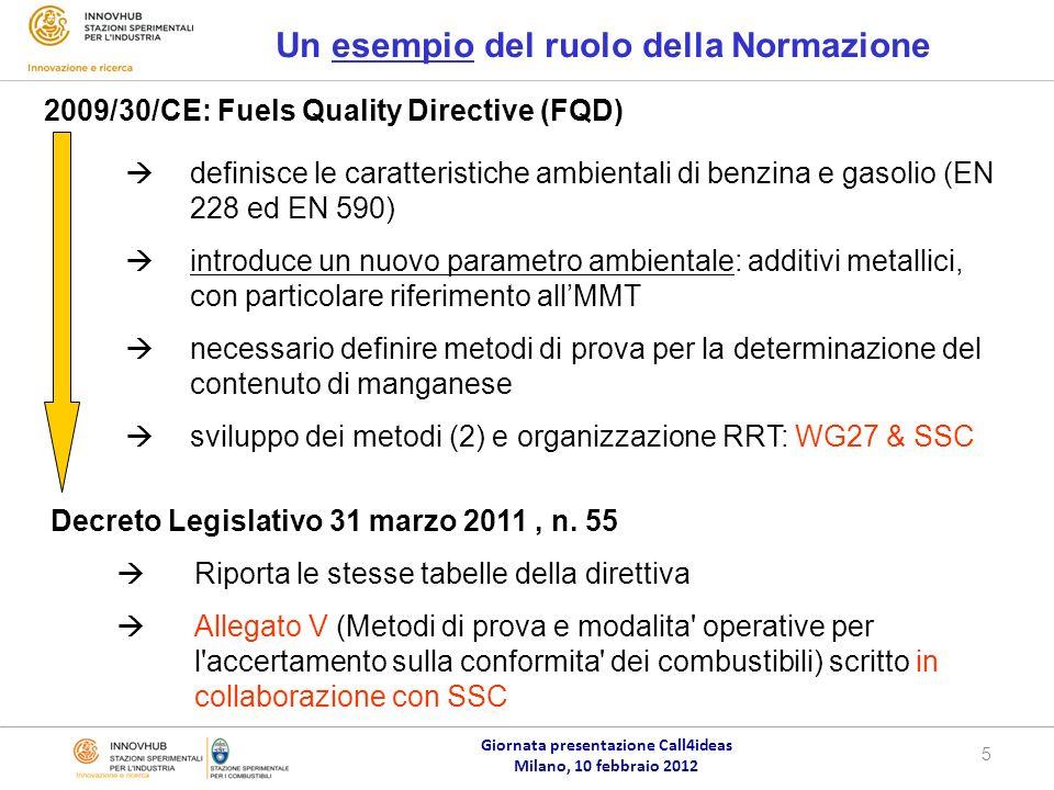 Giornata presentazione Call4ideas Milano, 10 febbraio 2012 5 Un esempio del ruolo della Normazione 2009/30/CE: Fuels Quality Directive (FQD) Decreto Legislativo 31 marzo 2011, n.