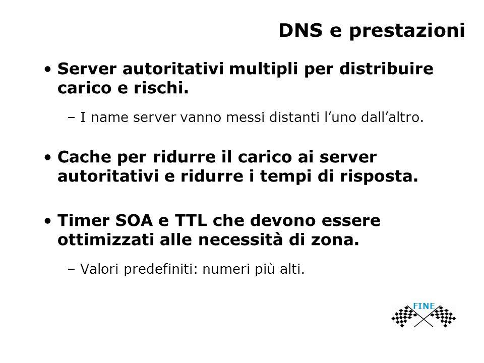 DNS e prestazioni FINE Server autoritativi multipli per distribuire carico e rischi. – I name server vanno messi distanti luno dallaltro. Cache per ri
