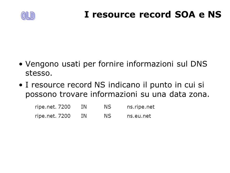 I resource record SOA e NS Vengono usati per fornire informazioni sul DNS stesso. I resource record NS indicano il punto in cui si possono trovare inf
