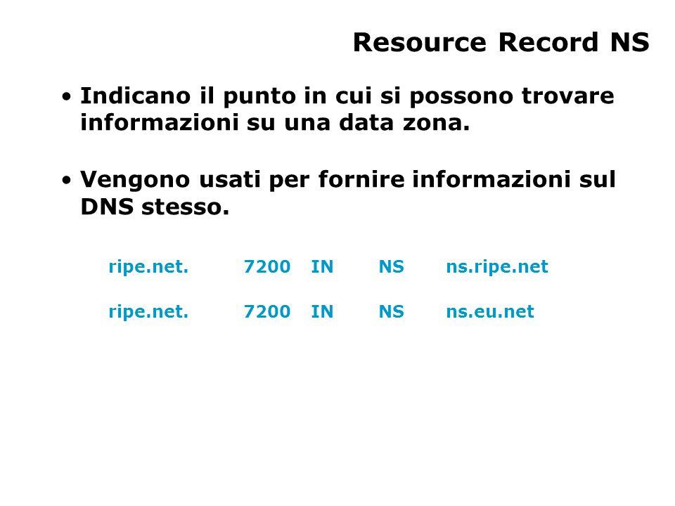 Resource Record NS Indicano il punto in cui si possono trovare informazioni su una data zona. Vengono usati per fornire informazioni sul DNS stesso. r