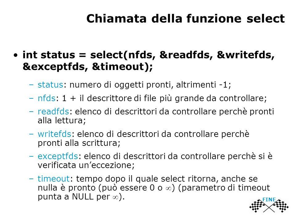 Chiamata della funzione select int status = select(nfds, &readfds, &writefds, &exceptfds, &timeout); –status: numero di oggetti pronti, altrimenti -1;
