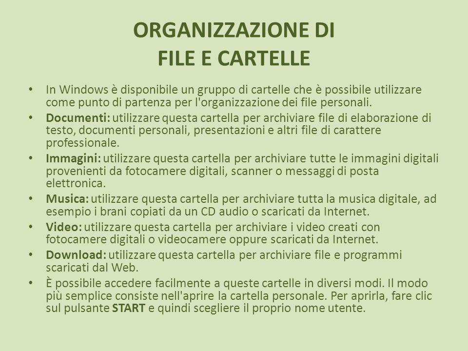 ORGANIZZAZIONE DI FILE E CARTELLE In Windows è disponibile un gruppo di cartelle che è possibile utilizzare come punto di partenza per l'organizzazion
