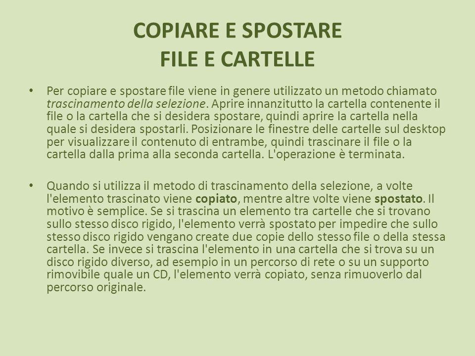 COPIARE E SPOSTARE FILE E CARTELLE Per copiare e spostare file viene in genere utilizzato un metodo chiamato trascinamento della selezione. Aprire inn