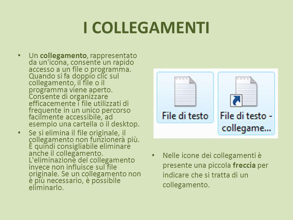 I COLLEGAMENTI Un collegamento, rappresentato da un'icona, consente un rapido accesso a un file o programma. Quando si fa doppio clic sul collegamento
