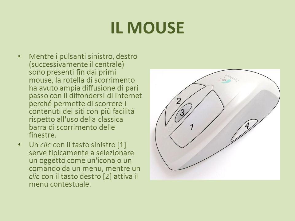 IL MOUSE Mentre i pulsanti sinistro, destro (successivamente il centrale) sono presenti fin dai primi mouse, la rotella di scorrimento ha avuto ampia