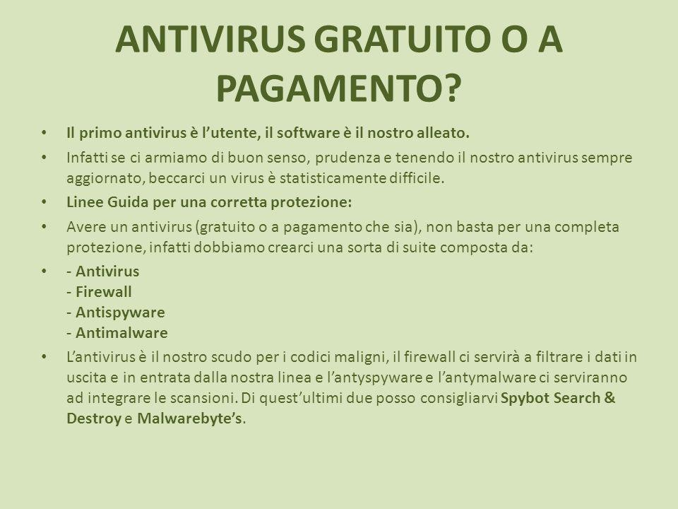 ANTIVIRUS GRATUITO O A PAGAMENTO. Il primo antivirus è lutente, il software è il nostro alleato.