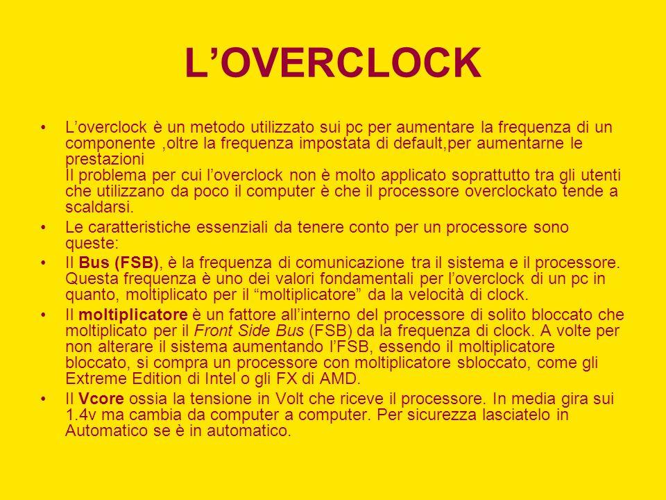 LOVERCLOCK Loverclock è un metodo utilizzato sui pc per aumentare la frequenza di un componente,oltre la frequenza impostata di default,per aumentarne