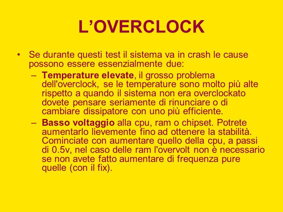 LOVERCLOCK Se durante questi test il sistema va in crash le cause possono essere essenzialmente due: –Temperature elevate, il grosso problema dell'ove
