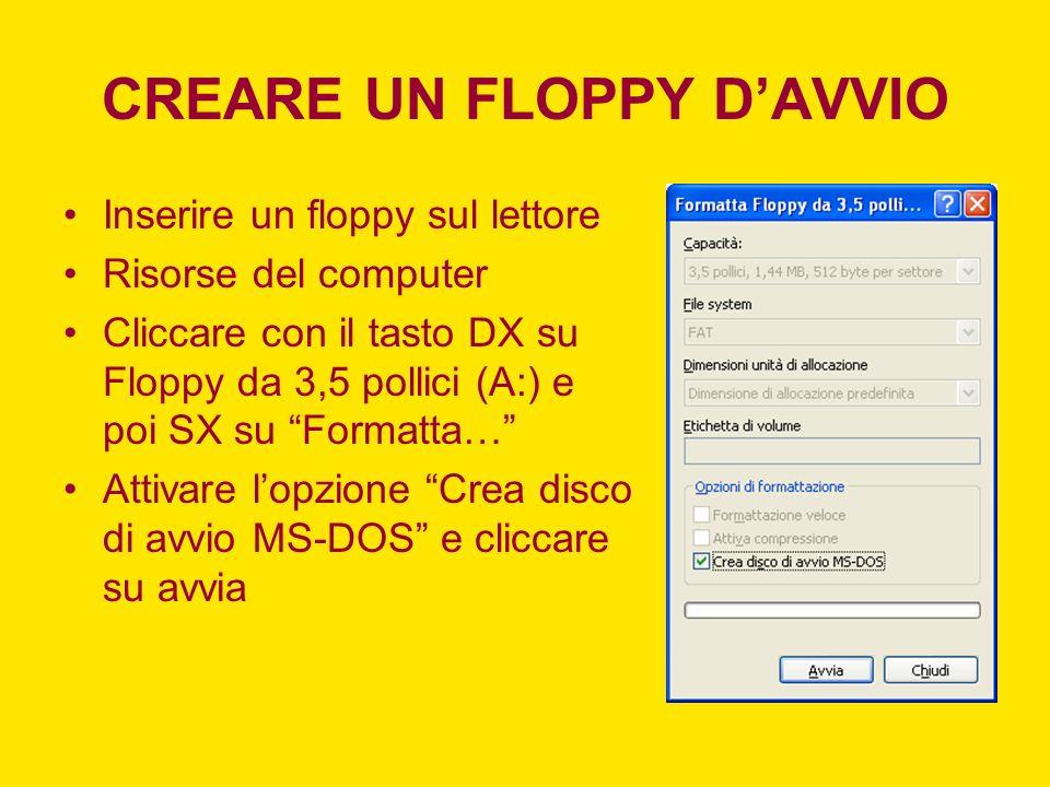 CREARE UN FLOPPY DAVVIO Inserire un floppy sul lettore Risorse del computer Cliccare con il tasto DX su Floppy da 3,5 pollici (A:) e poi SX su Formatt