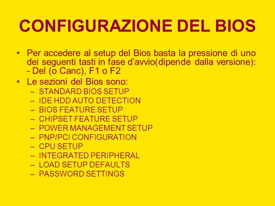 CONFIGURAZIONE DEL BIOS Per accedere al setup del Bios basta la pressione di uno dei seguenti tasti in fase davvio(dipende dalla versione): - Del (o C