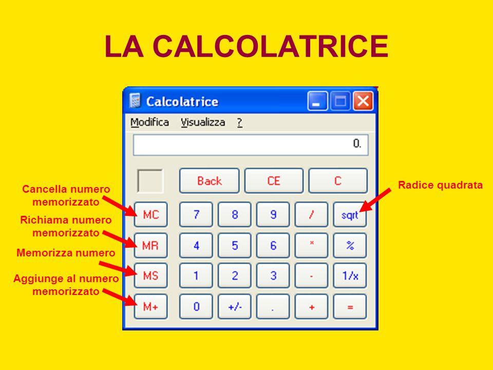 LA CALCOLATRICE Modulo (resto della divisione) Eleva il numero al quadrato Codifica binariaCodifica esadecimale