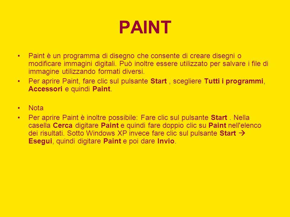 PAINT Paint è un programma di disegno che consente di creare disegni o modificare immagini digitali. Può inoltre essere utilizzato per salvare i file