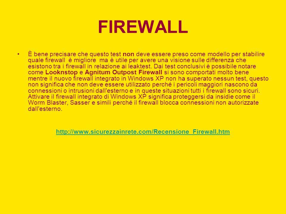 FIREWALL È bene precisare che questo test non deve essere preso come modello per stabilire quale firewall è migliore ma è utile per avere una visione sulle differenza che esistono tra i firewall in relazione ai leaktest.