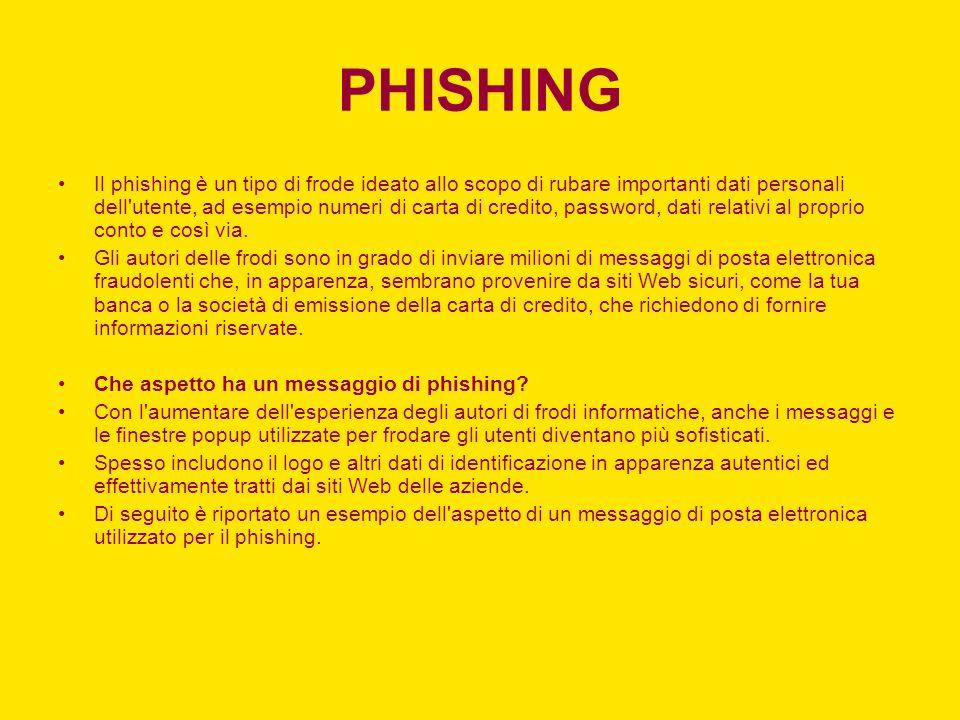 PHISHING Il phishing è un tipo di frode ideato allo scopo di rubare importanti dati personali dell utente, ad esempio numeri di carta di credito, password, dati relativi al proprio conto e così via.