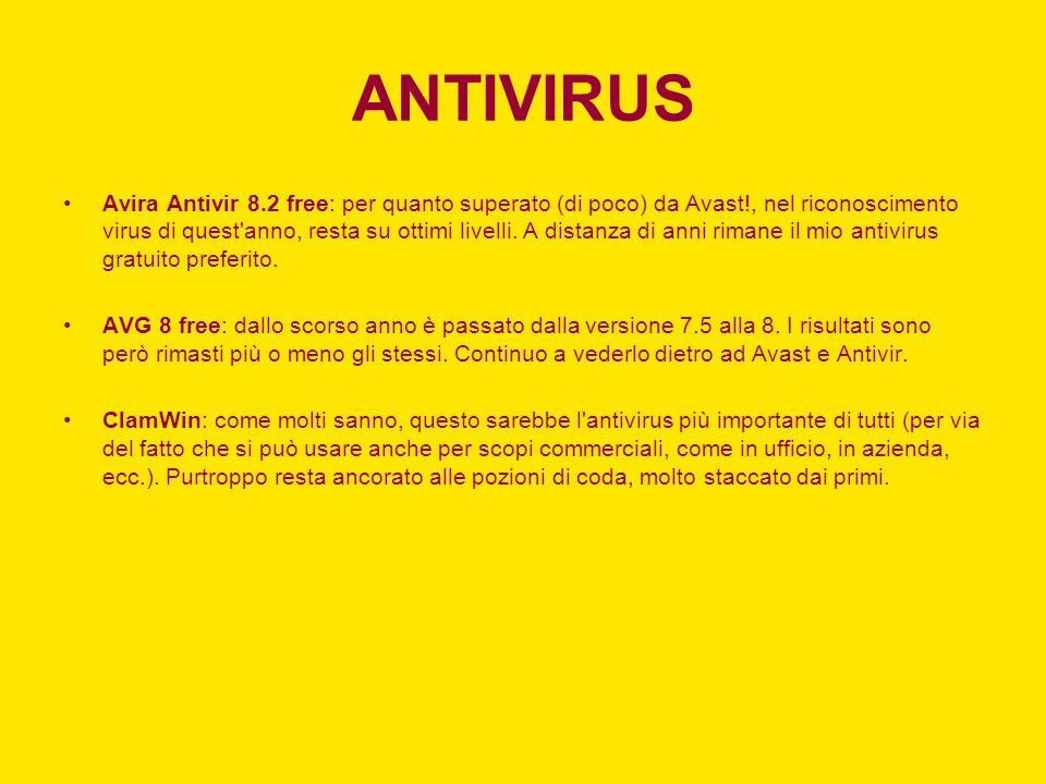 ANTIVIRUS Avira Antivir 8.2 free: per quanto superato (di poco) da Avast!, nel riconoscimento virus di quest anno, resta su ottimi livelli.