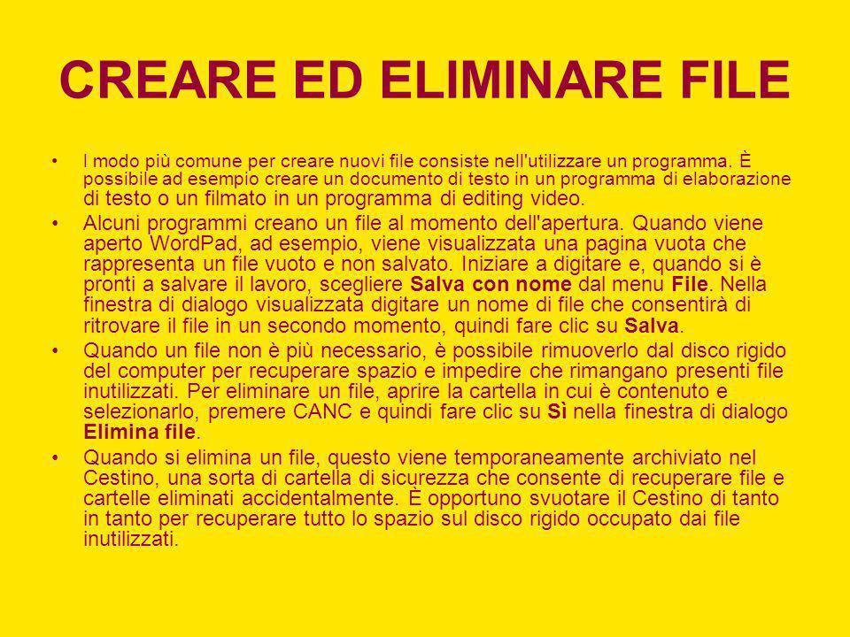CREARE ED ELIMINARE FILE l modo più comune per creare nuovi file consiste nell'utilizzare un programma. È possibile ad esempio creare un documento di