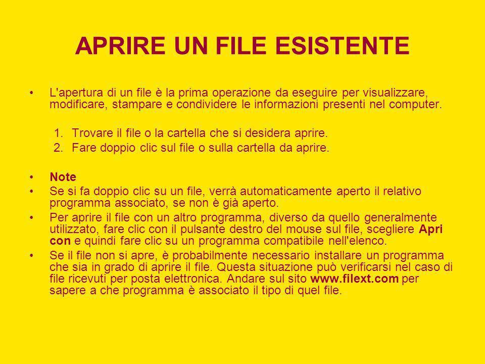APRIRE UN FILE ESISTENTE L'apertura di un file è la prima operazione da eseguire per visualizzare, modificare, stampare e condividere le informazioni