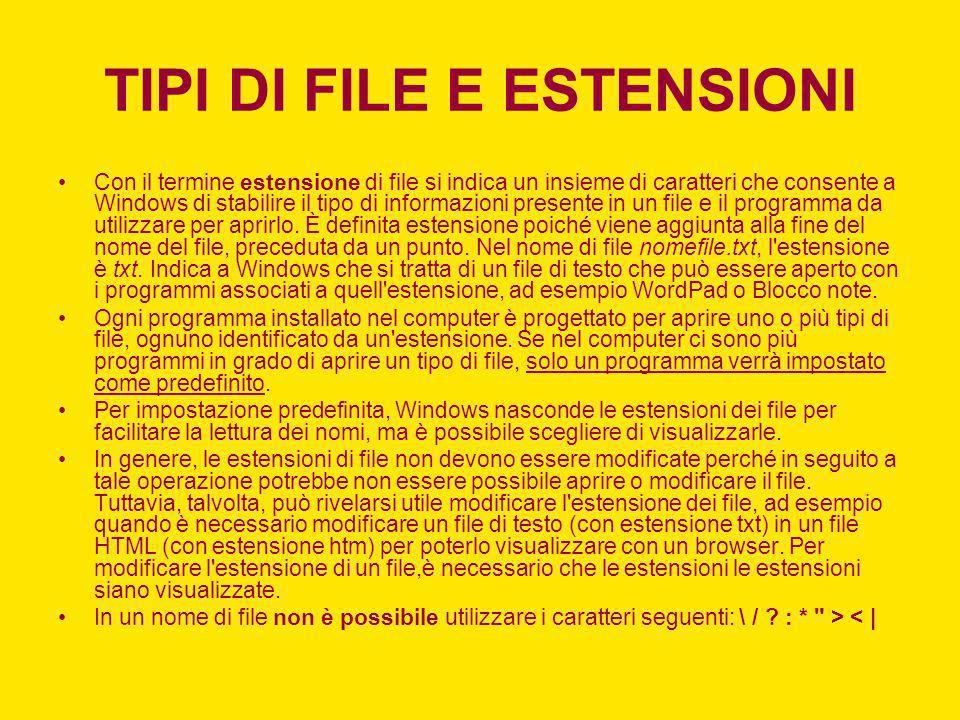 TIPI DI FILE E ESTENSIONI Con il termine estensione di file si indica un insieme di caratteri che consente a Windows di stabilire il tipo di informazi